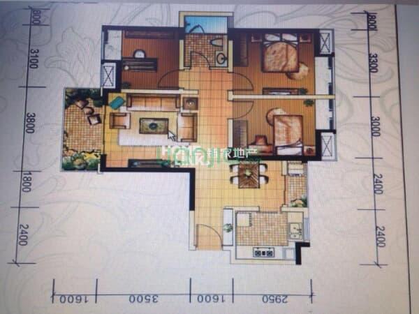 元 户型: 3室2厅 朝向: 东南 楼层: 低楼层(共31层) 小区: 蓝光·锦绣